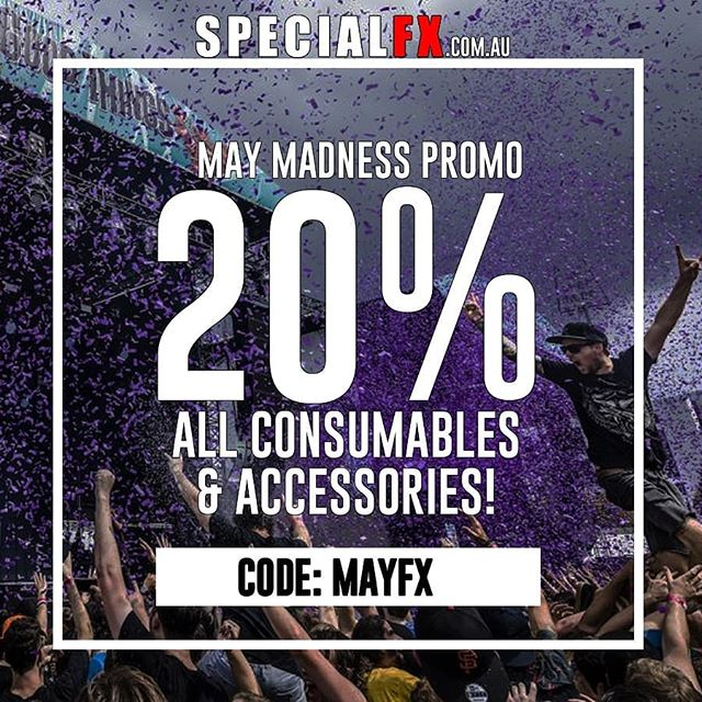 May Madness Promo ⏳💣 20% Off our entire range of Consumables and Accessories! Boom! All bulk confetti, handheld and eletric cannons, fluids, spark powders, cases, cables the works - check out SpecialFX.com.au /  Code: MAYFX 🔥🔥🔥 #Offer Expires 31st May 23.59AEST