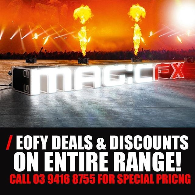 EOFY Deals and Discounts on the entire MAGICFX Range!  This month we are offering deals and unbeatable prices on the entire MAGICFX Range. Offers that are just too good to be detailed online… Give us a call on 03 9416 8755, let us know what you need and we will give you our special pricing.  www.specialfx.com.au