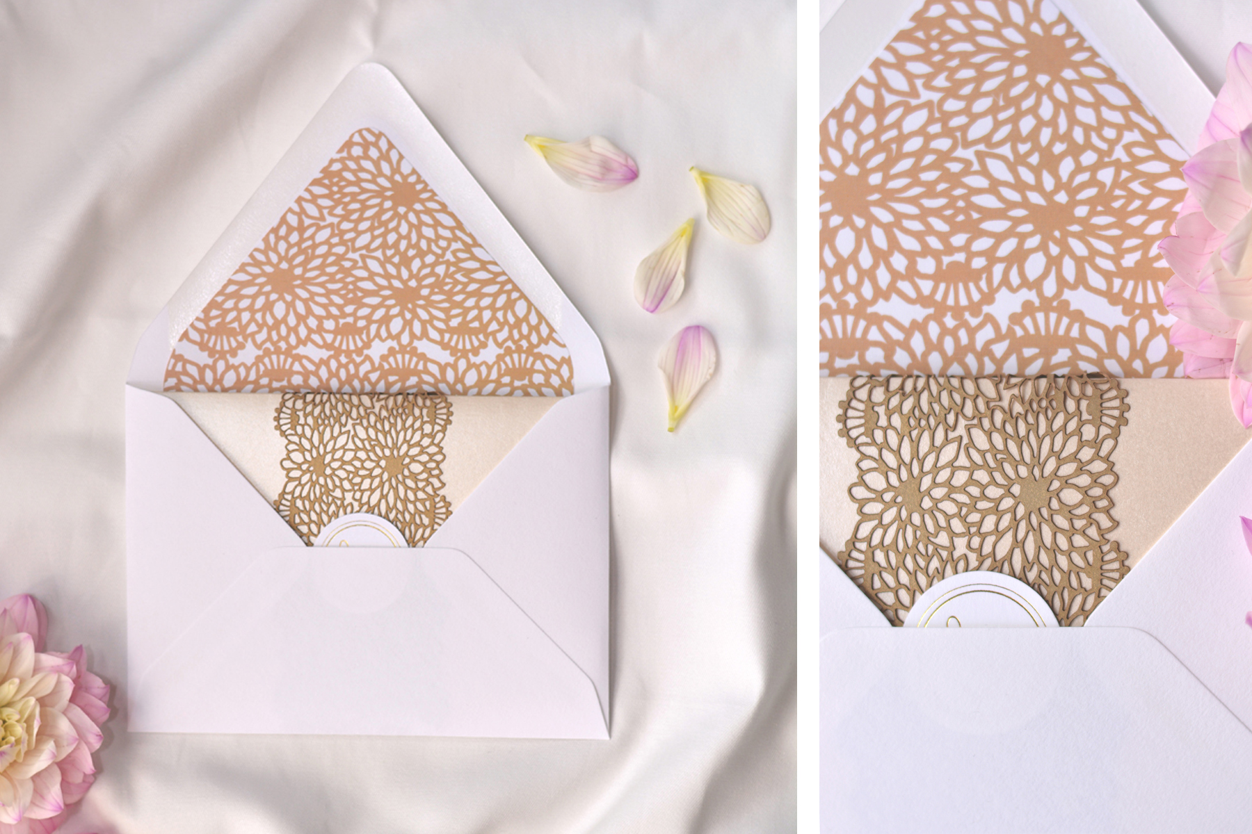 The envelope featured a digitally printed liner to match the laser cut belly bands.