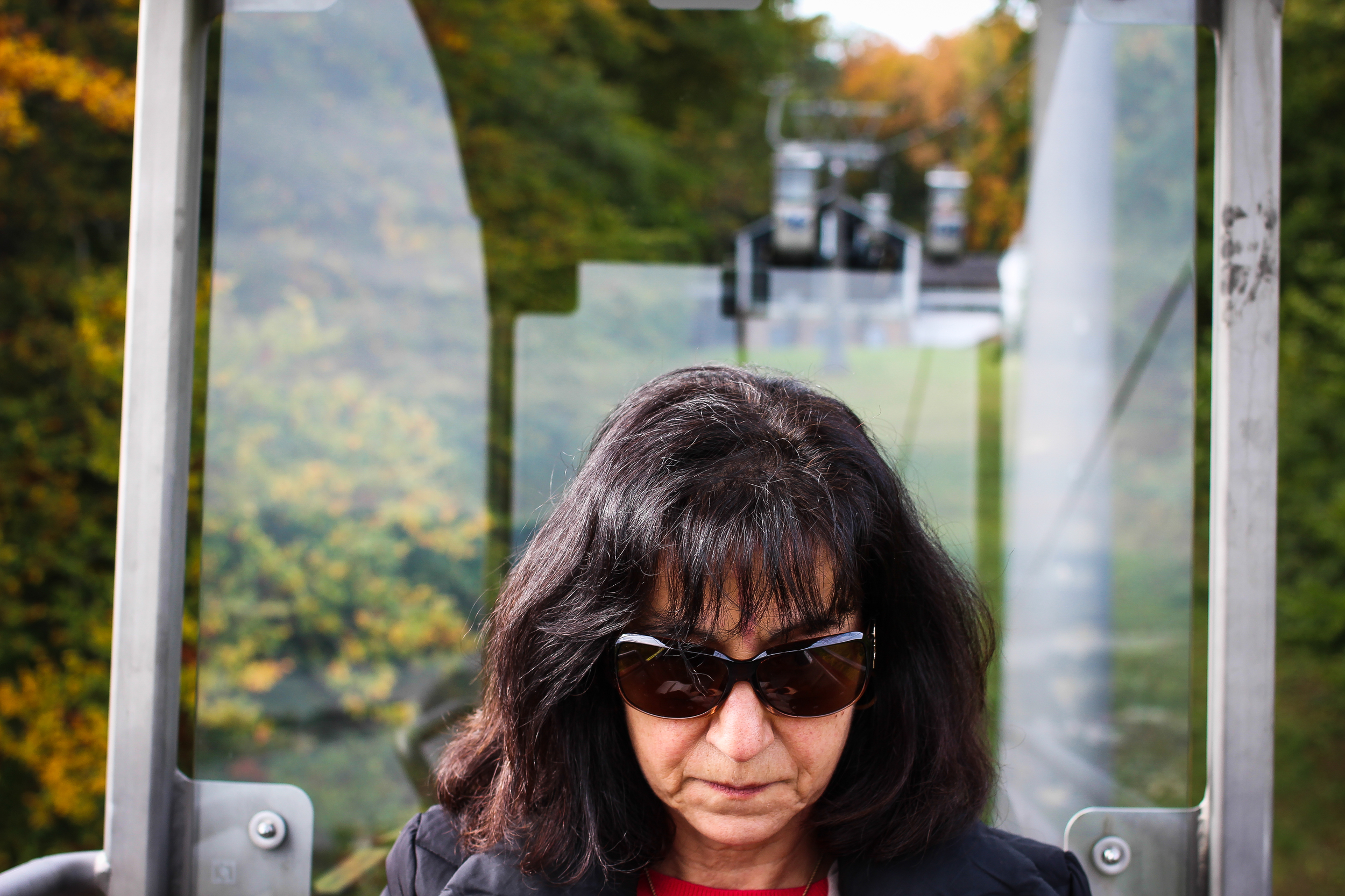 My mother, somewhere above Rudesheim, Germany