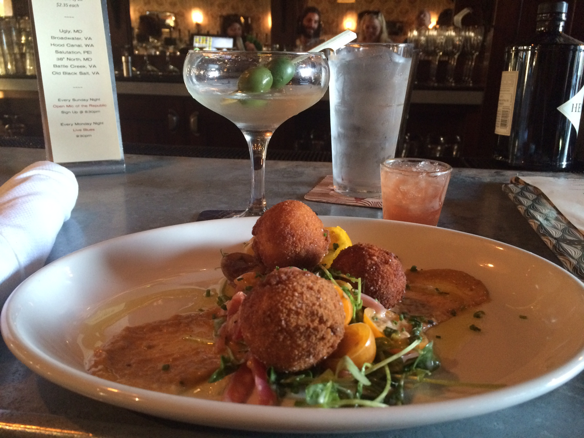 Brandade croquettes and a Tito's dirty martini from Republic.