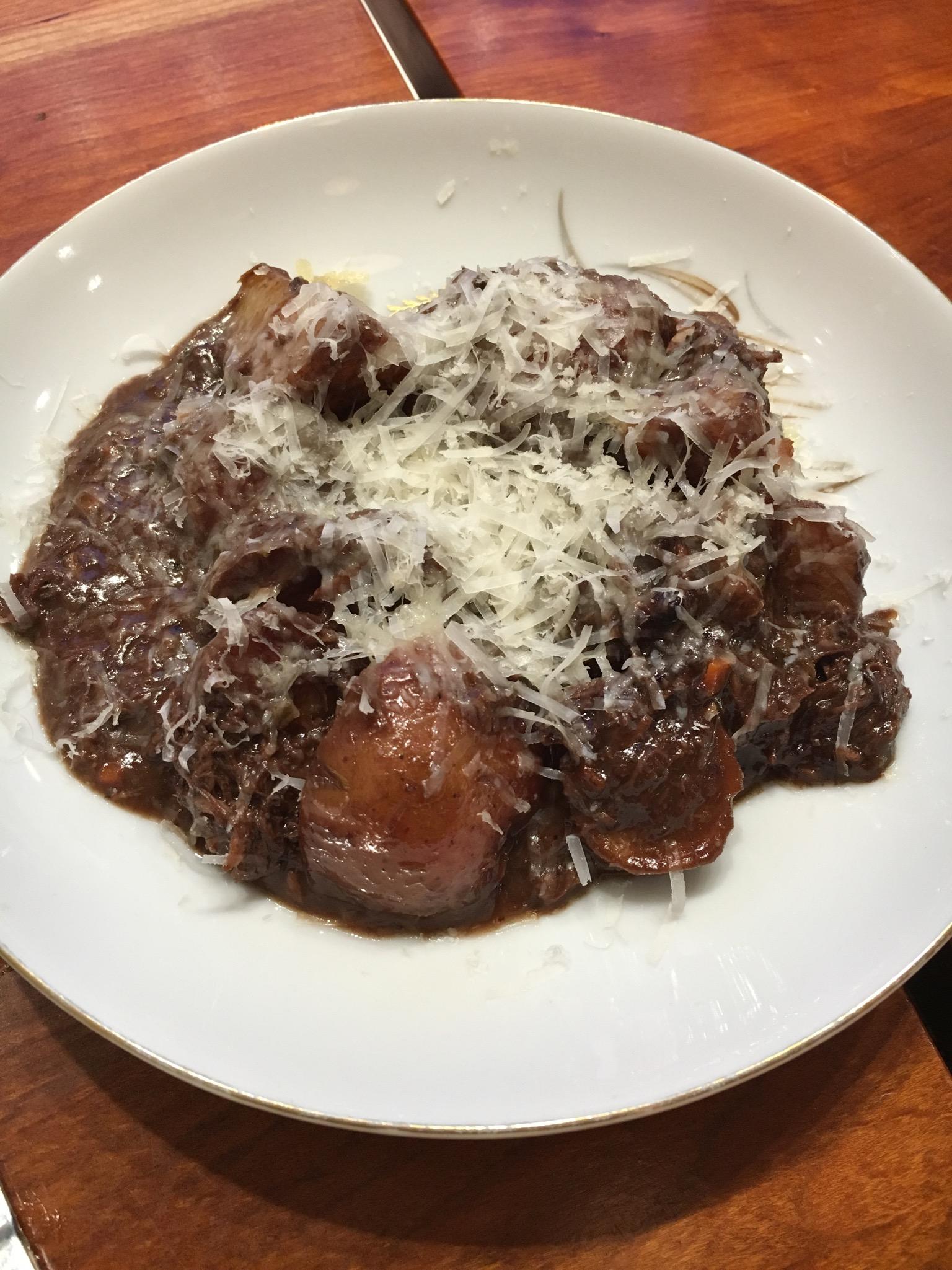 Dark Chocolate Duck Ragu with Red Potatoes.