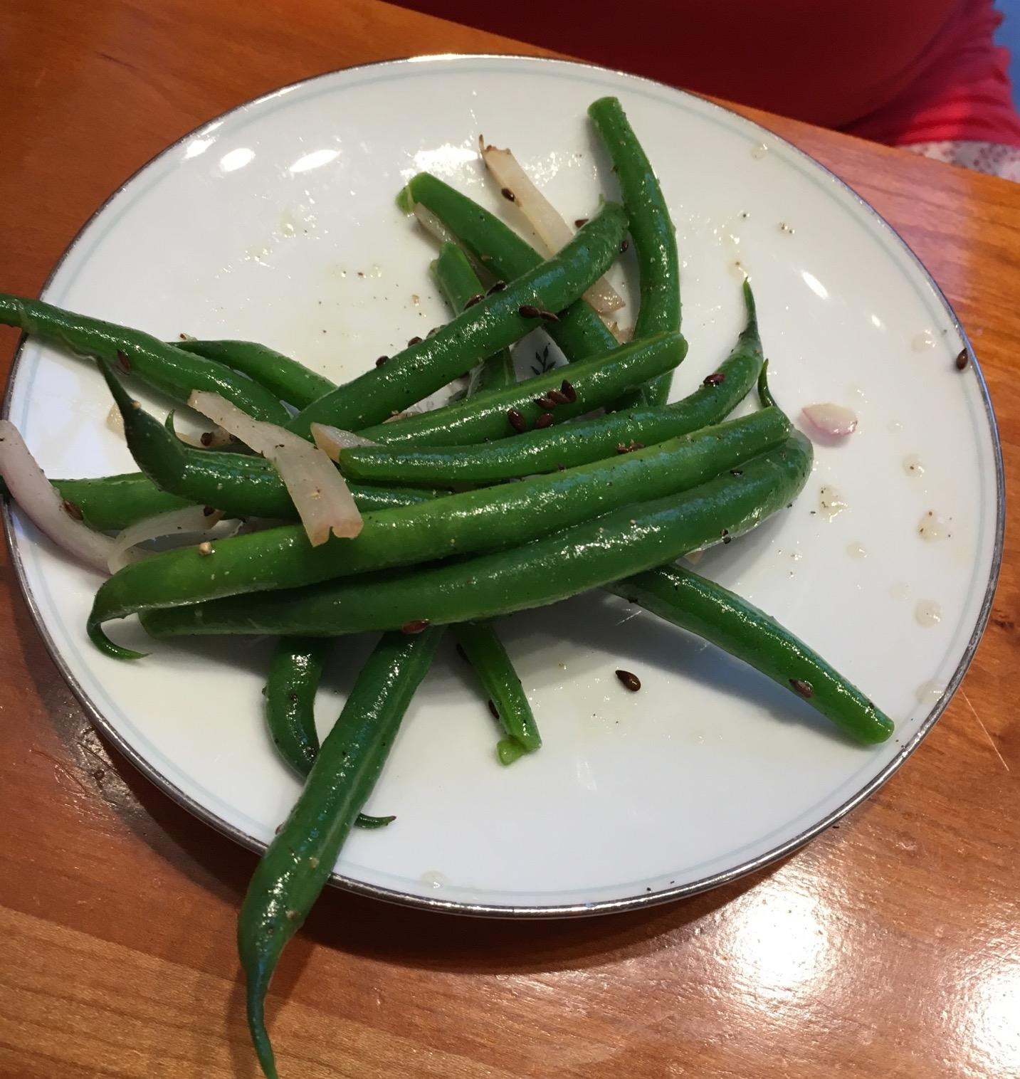 A terrible photo of the Green Bean Salad.