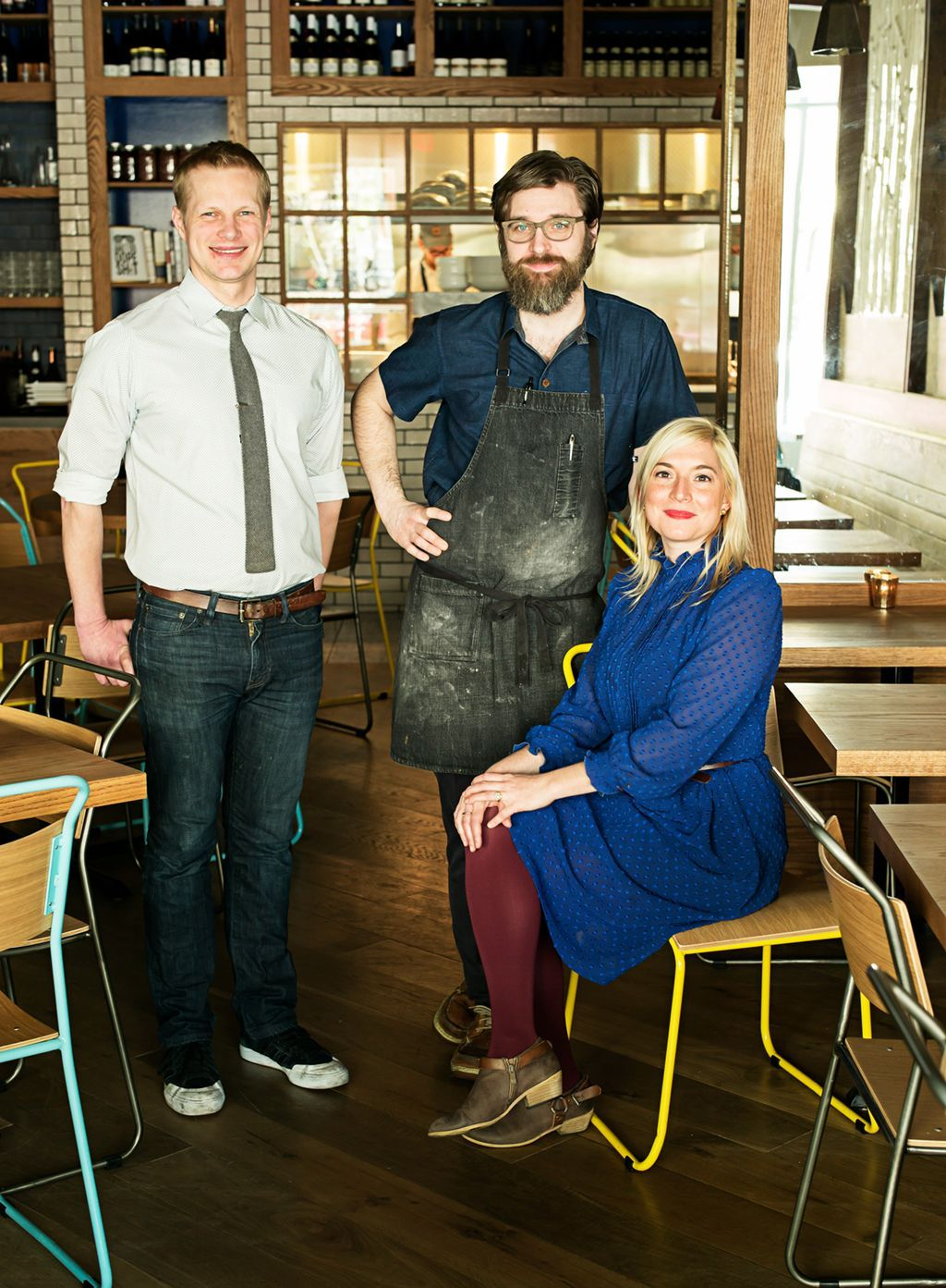 Left to right: Bill Jensen, owner and beverage director; Jon Sybert, owner and chef; Jill Tyler, owner and service director.  Photo Courtesy of  Scott Suchman .