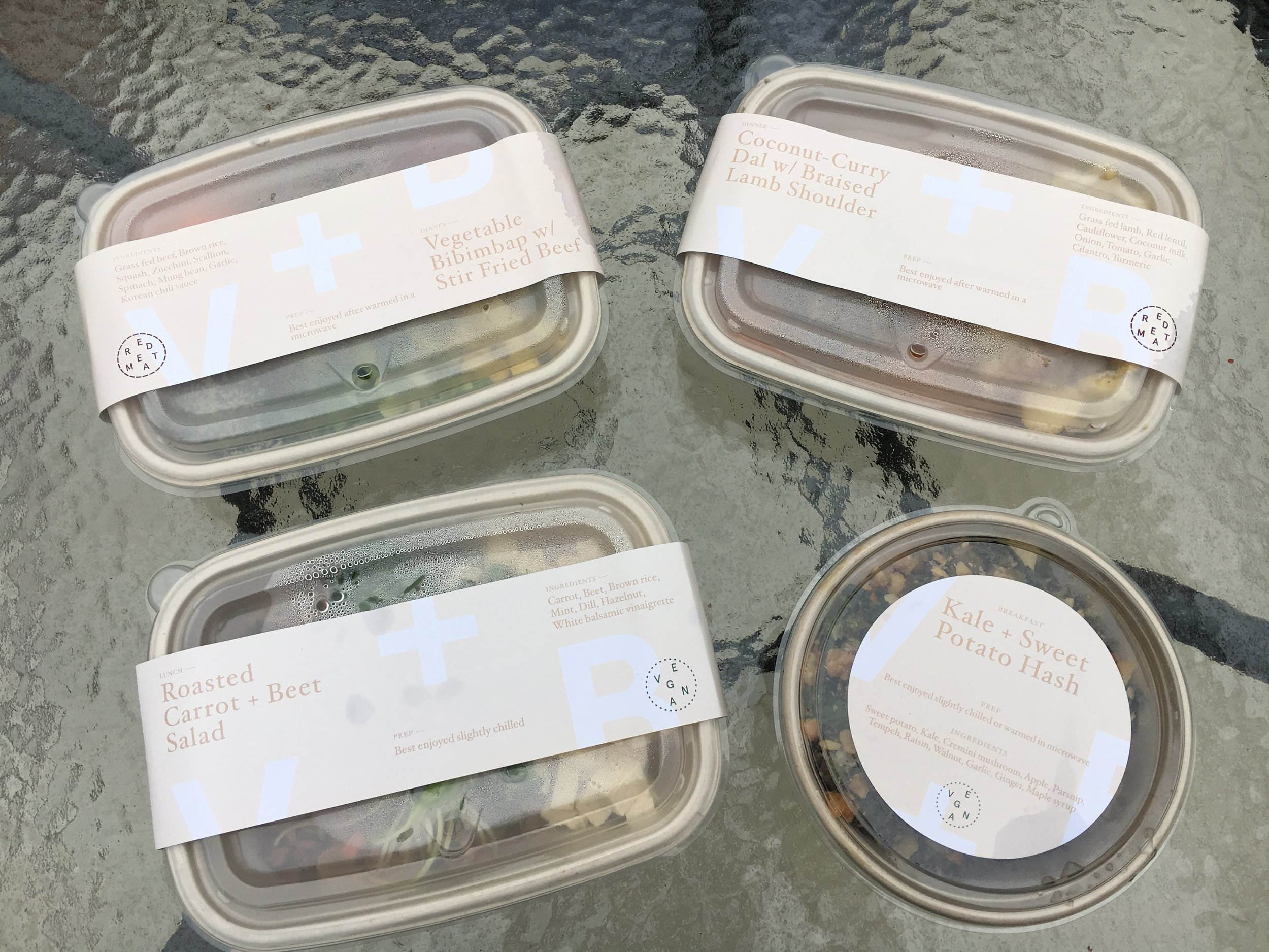 Each meal is clearly labeled with every ingredient and preparation instructions.