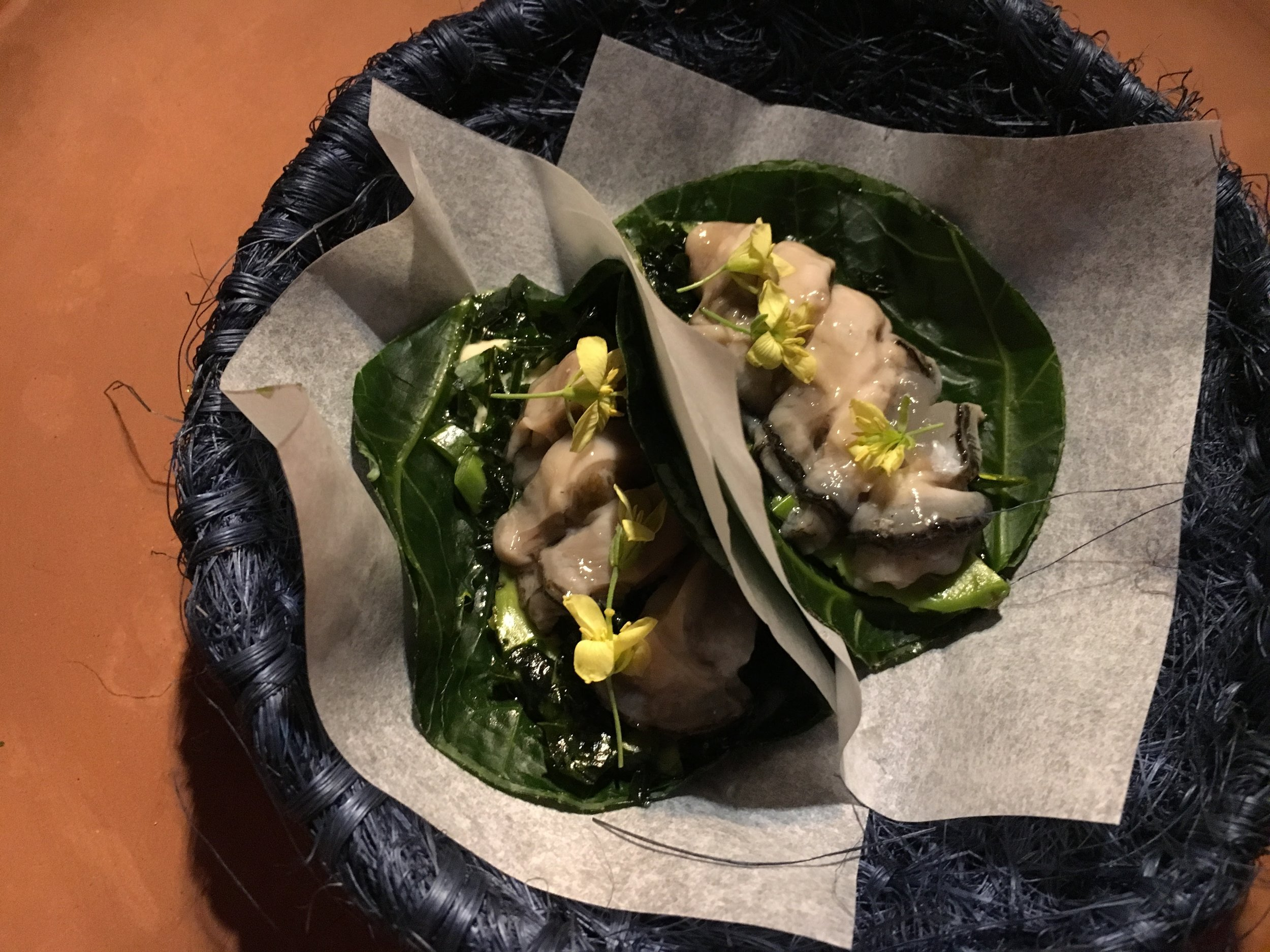 Oyster tacos in a collard leaf. I may or may not have had trouble with this one.