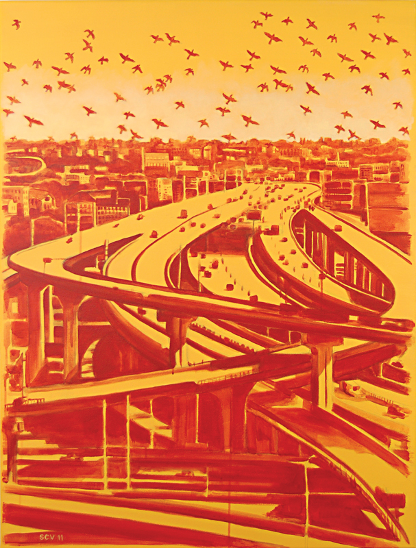 Orange Freeway 2011  40x30 Acrylic on canvas