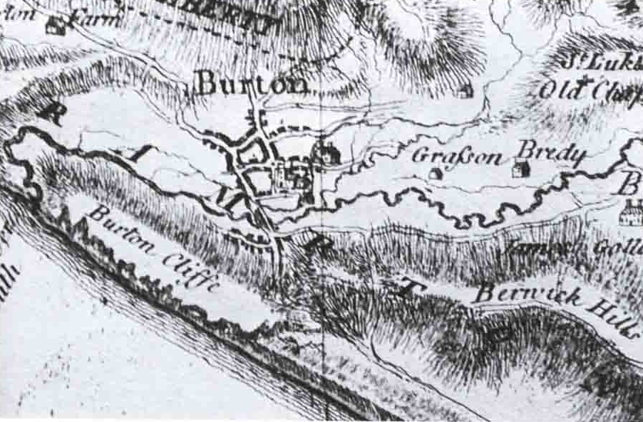 Graston can be seen marked to the right of Burton in this map from 1765.