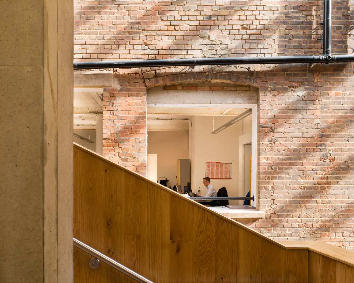First floor office as seen from atrium, The Foundry, Vauxhall