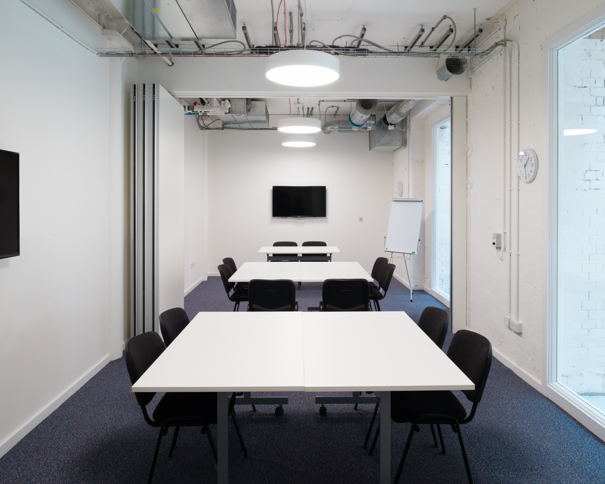 Meeting Room 1 + 2 with partition open, The Foundry, Vauxhall