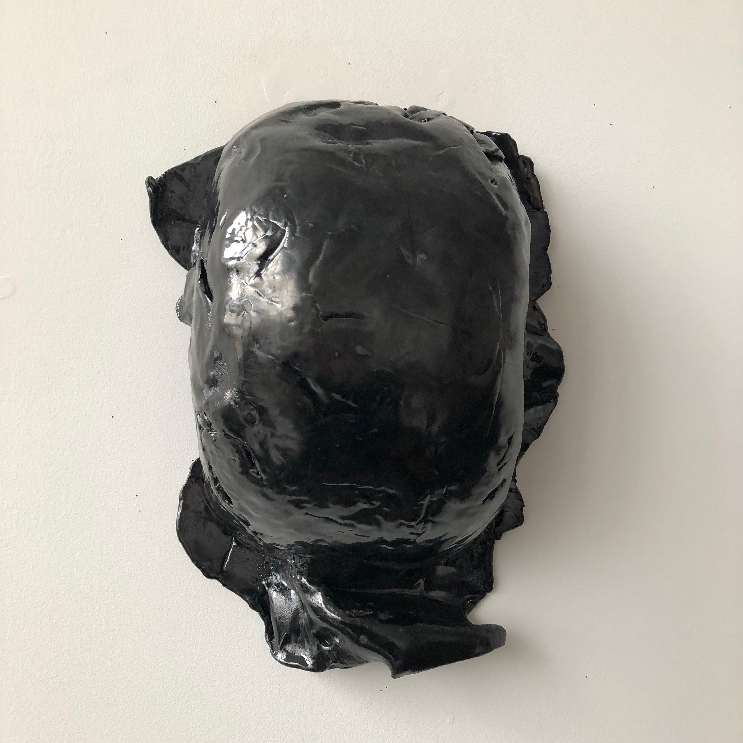 Untitled Belly Bag, 2019, glazed ceramic, 16 x 12 x 6 inches
