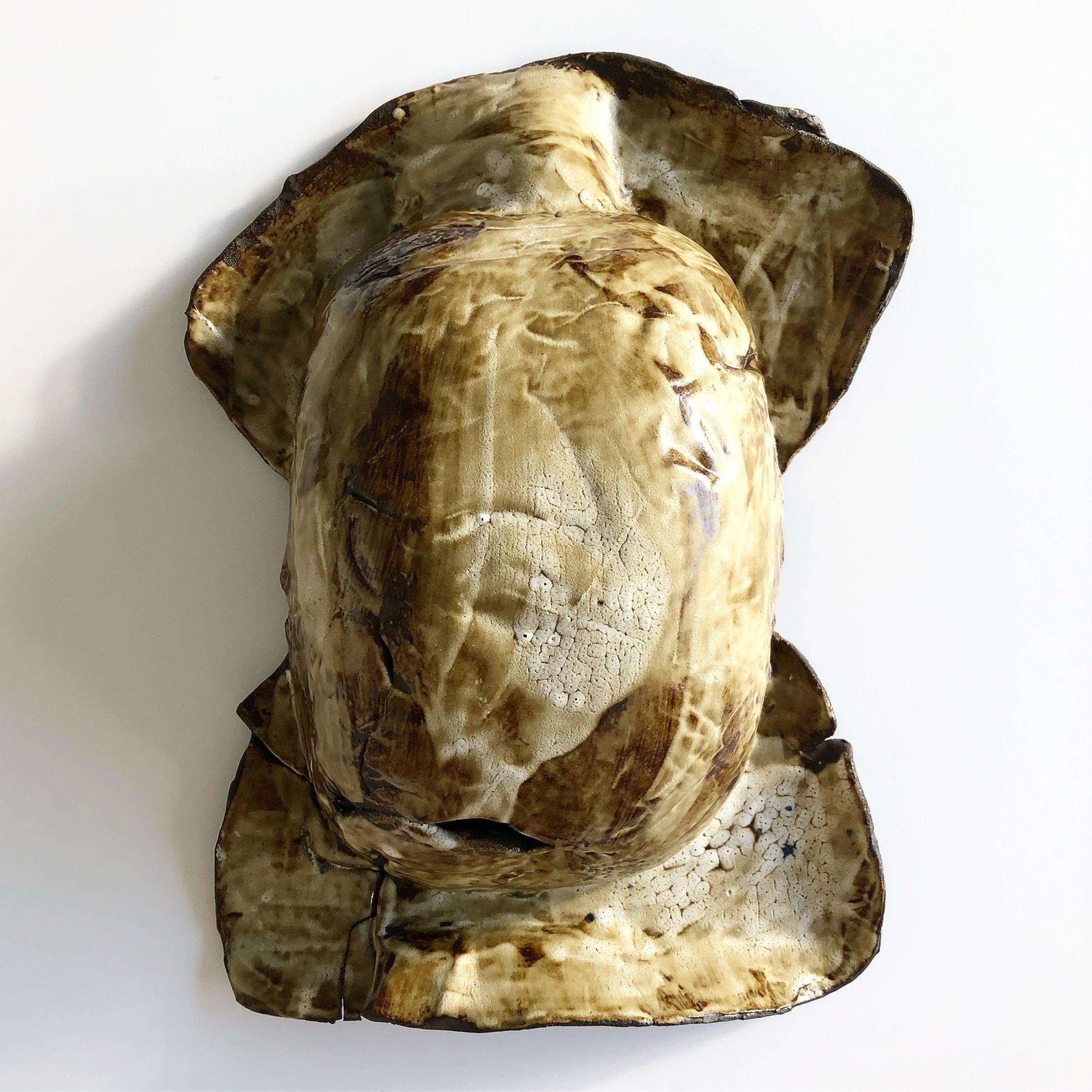 Bread Belly, 2019, glazed ceramic, 18 x 14 x 6 1/2 inches