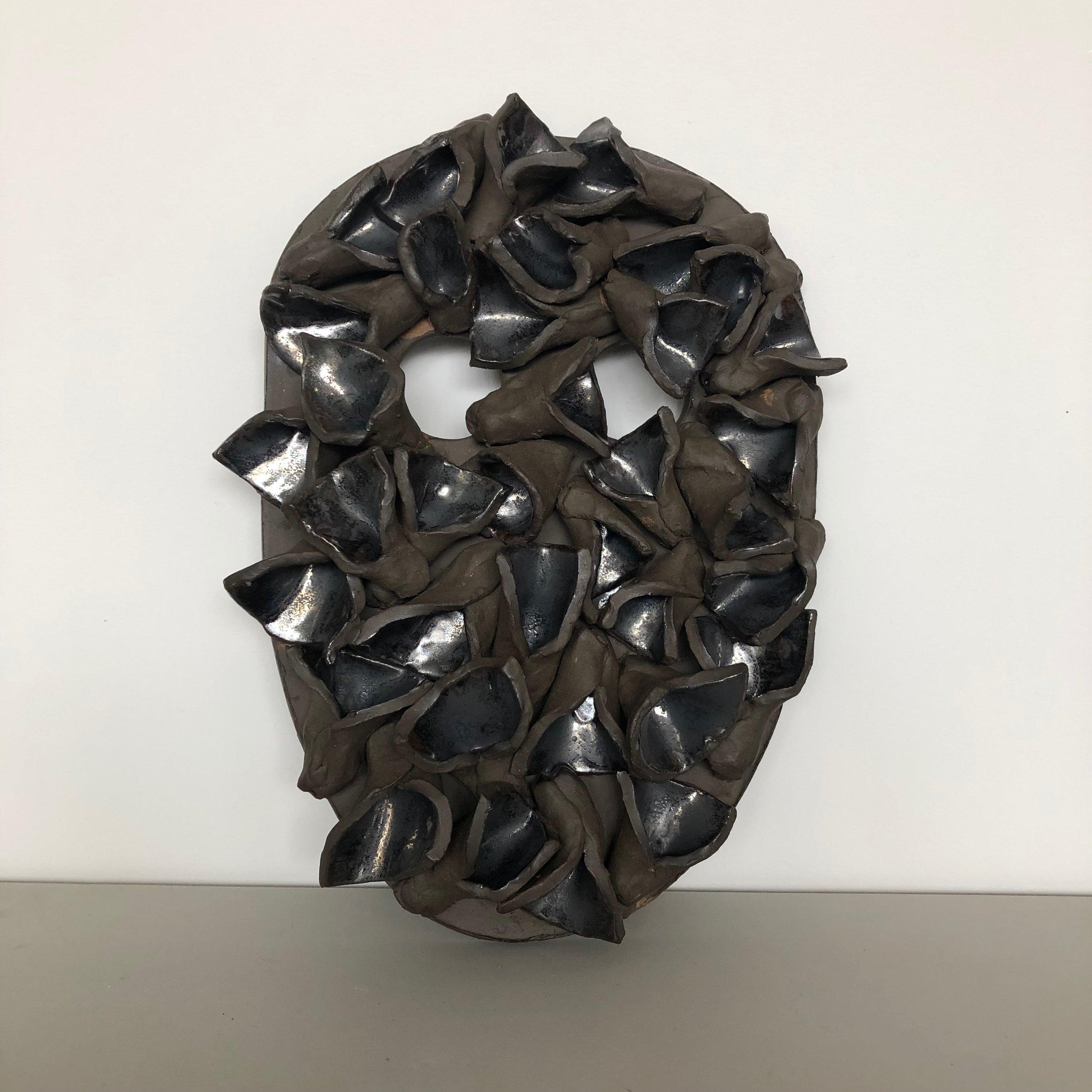 Untitled, 2019, glazed ceramic, 12 1/2 x 9 1/2 x 2 inches