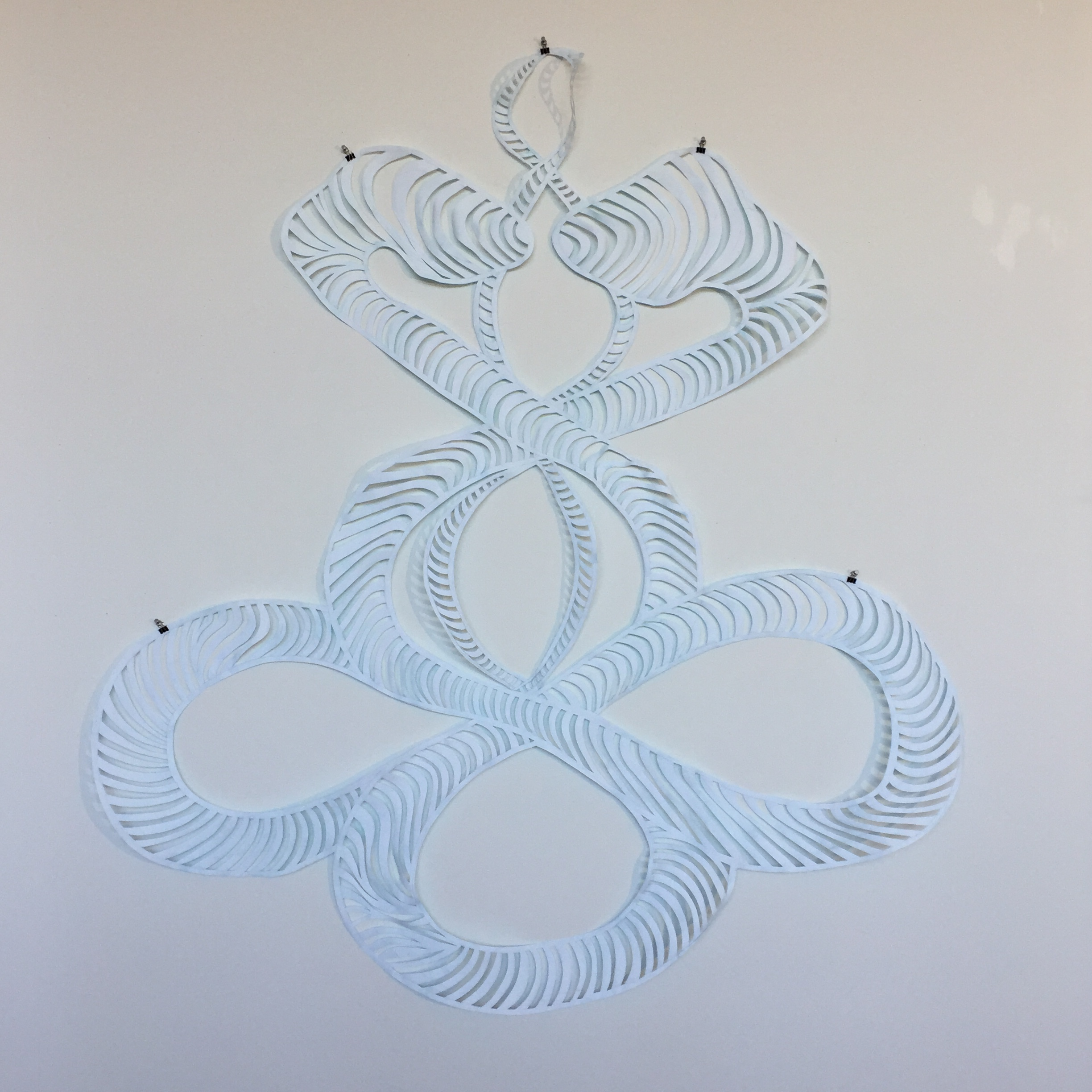 Double Helix Snakes, 2017, watercolor and Flashe on cut paper, 60 x 69 inches