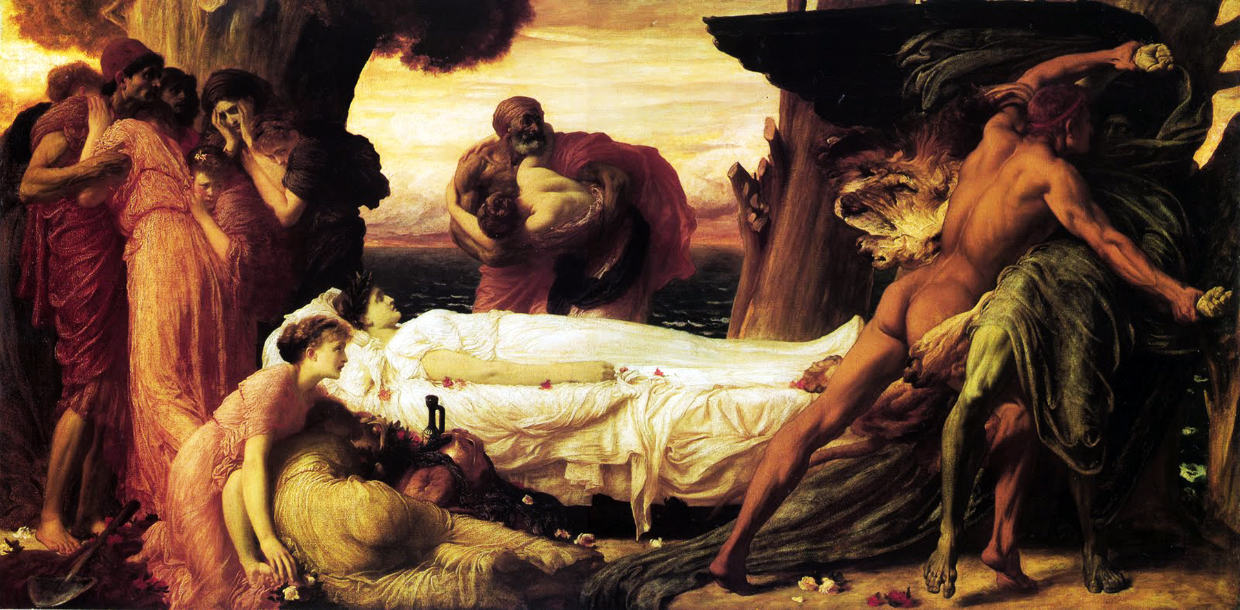 Frederic Leighton,  Hercules Wrestling with Death for the Body of Alcestis , 1869-71
