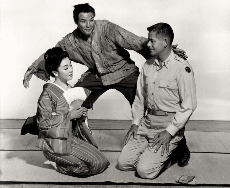 Marlon Brando as Sakini (center) in  the Teahouse of the August Moon , 1956