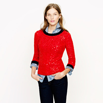 Scattered Sequin Sweater, J. Crew