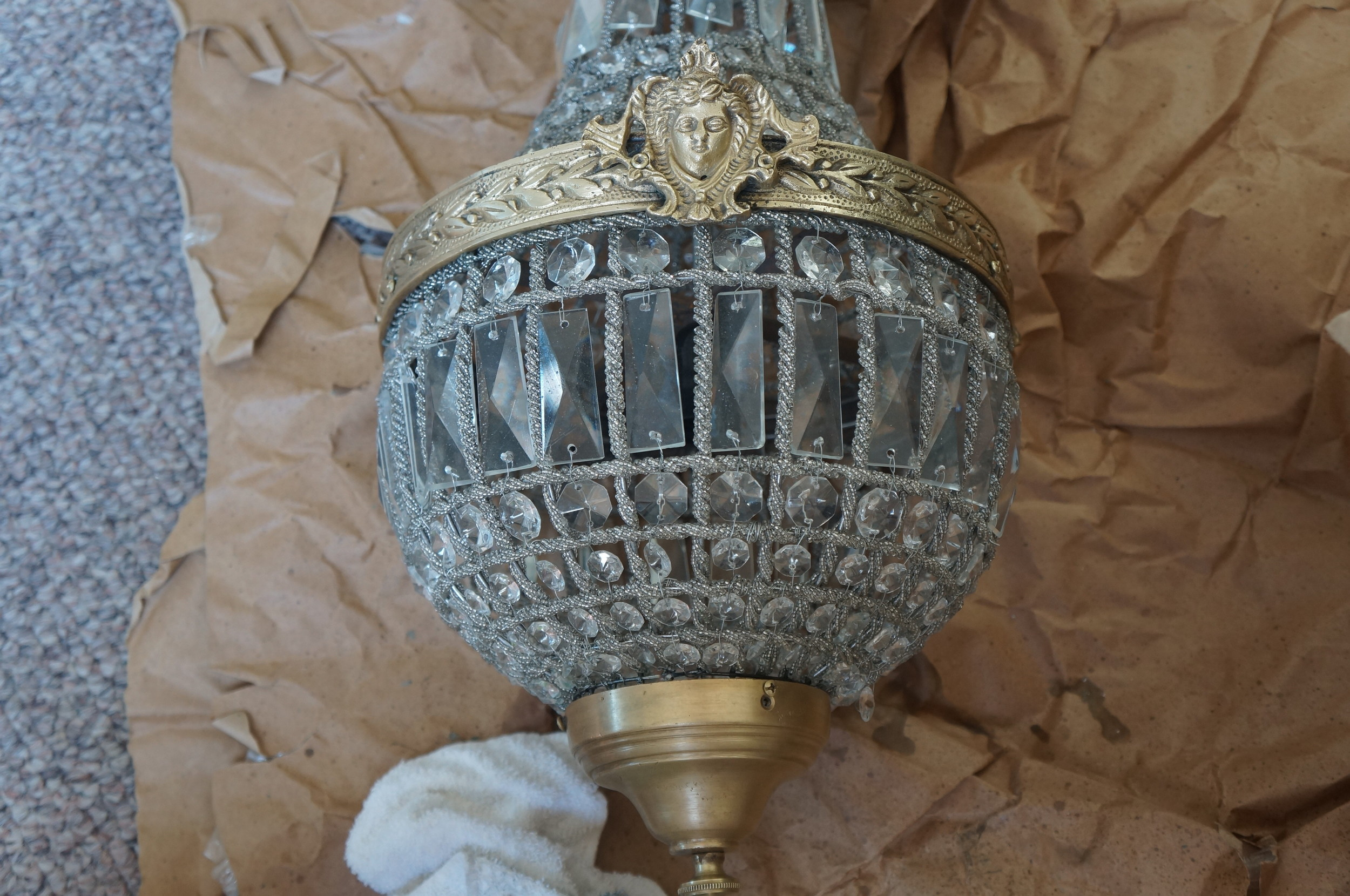 Cleaning Chandelier with Brasso
