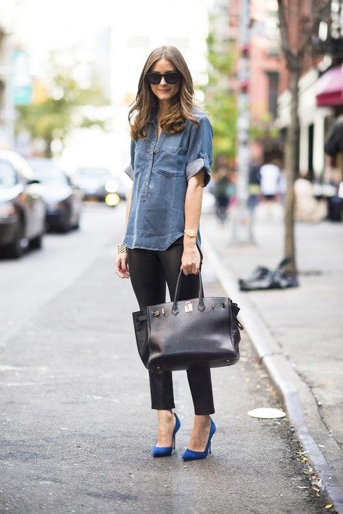 Chambray shirt and black leggings