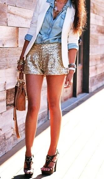 Chambray shirt and sequin shorts