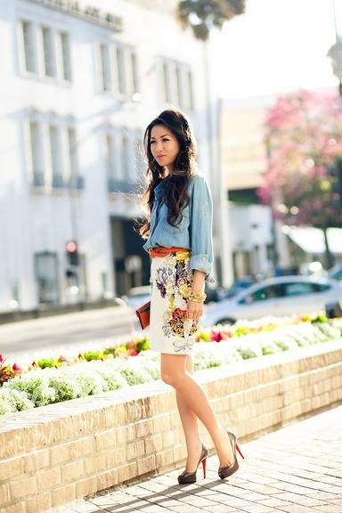 Chambray shirt and floral skirt