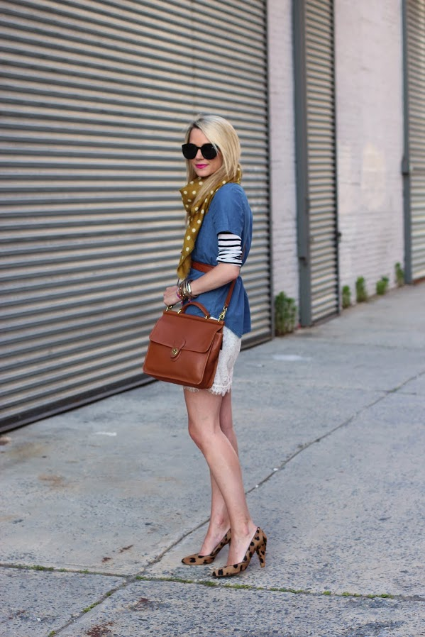 Chambray over striped shirt