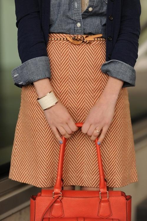 Chambray shirt with herringbone skirt