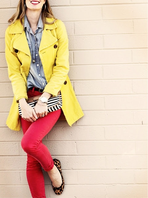 Chambray with yellow and raspberry