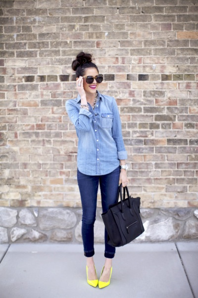 Chambray shirt with neon heels