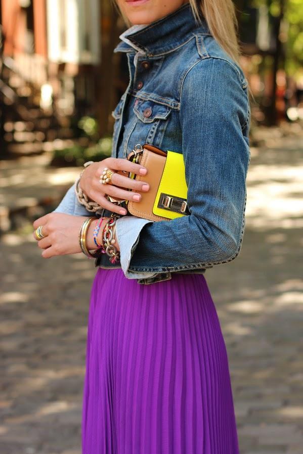 Chambray shirt with maxi skirt