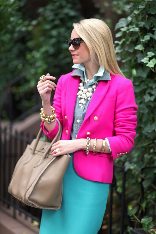Chambray shirt with pink blazer