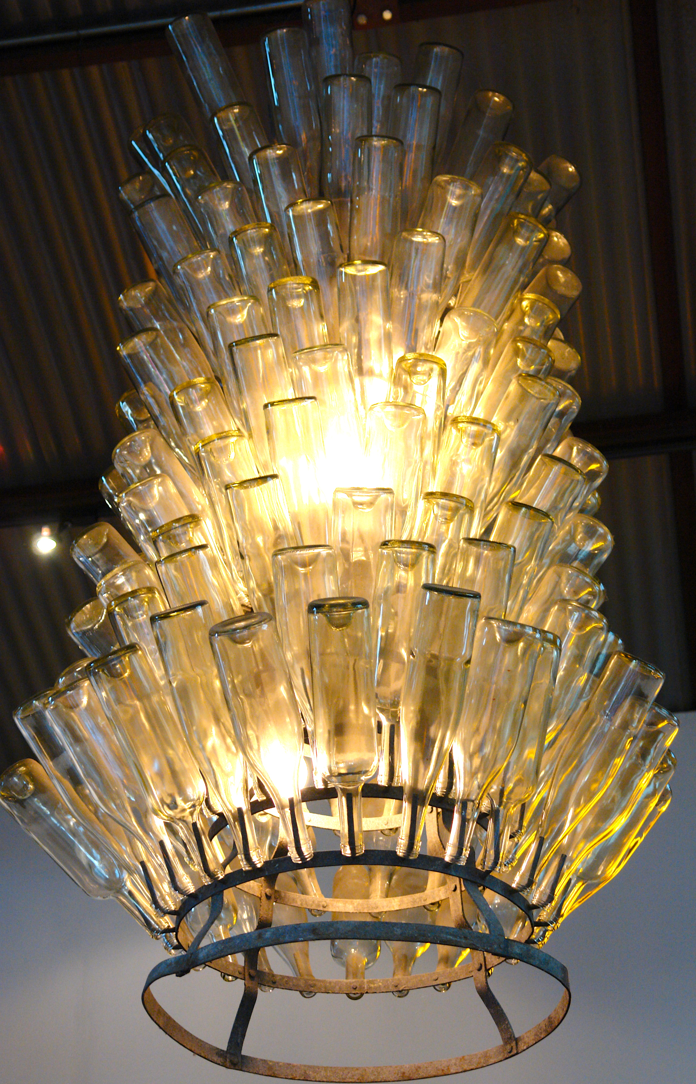 Clear Glass Wine Bottle Chandelier