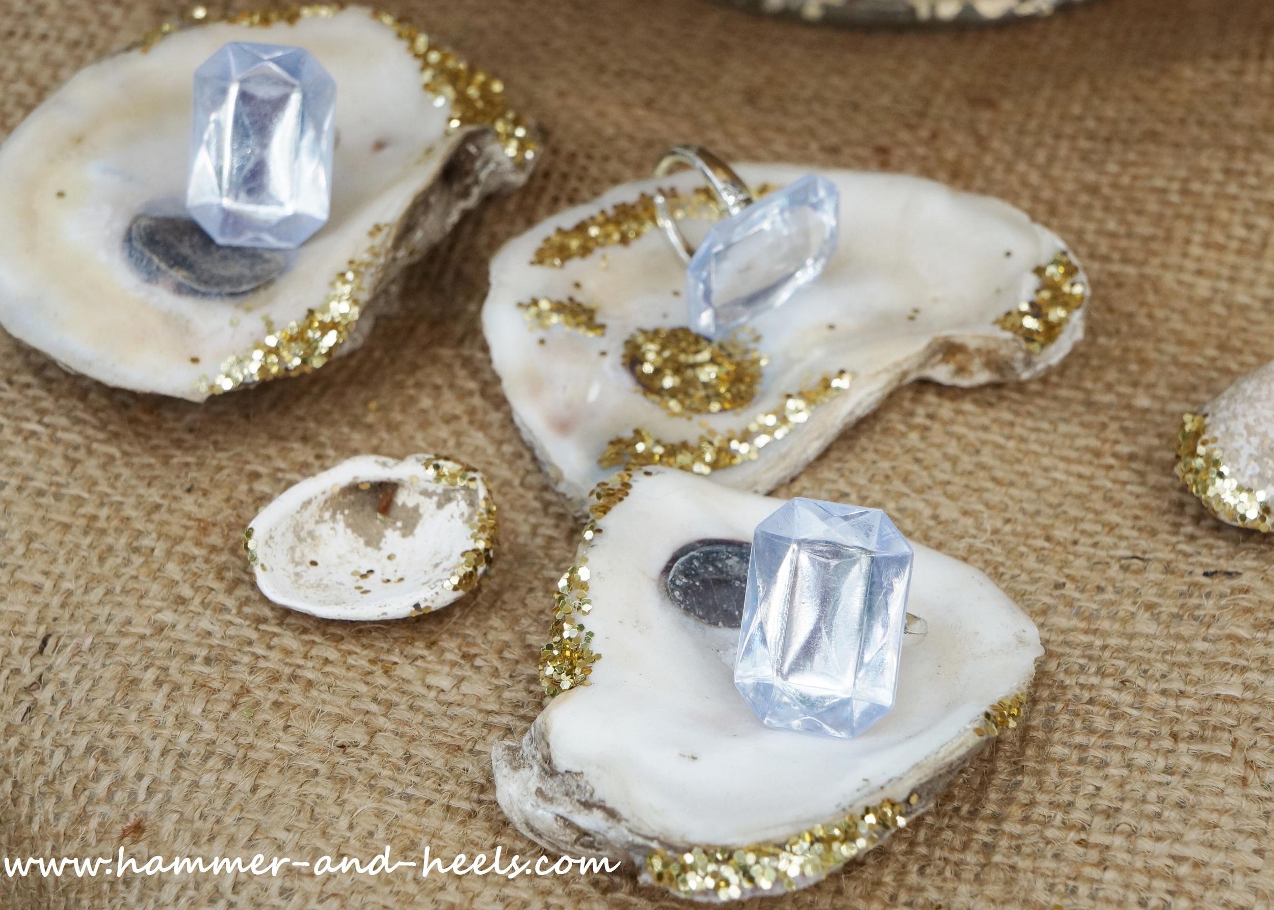 Dominique's glitter oyster shells!