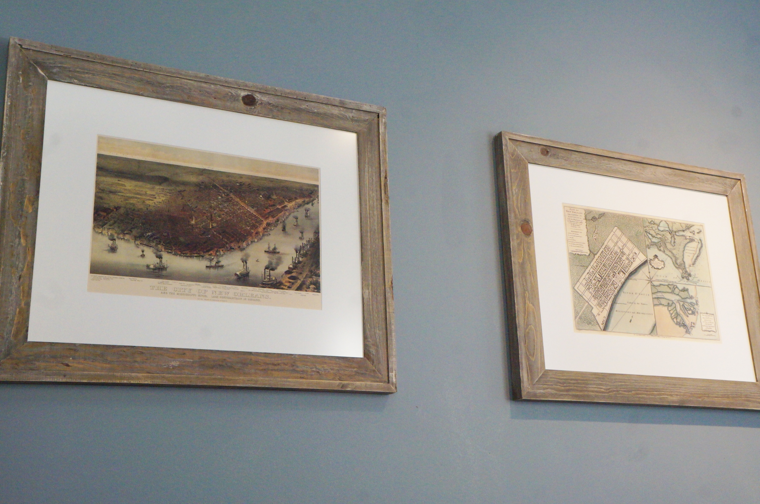 Vintage maps with rustic frame