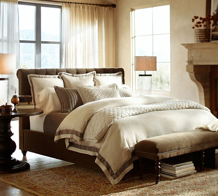 Chesterfield Upholstered Bed and Headboard, Pottery Barn