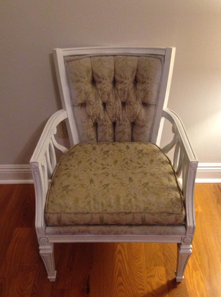 BEFORE: Victoria's chic black and white lattice print DIY armchair