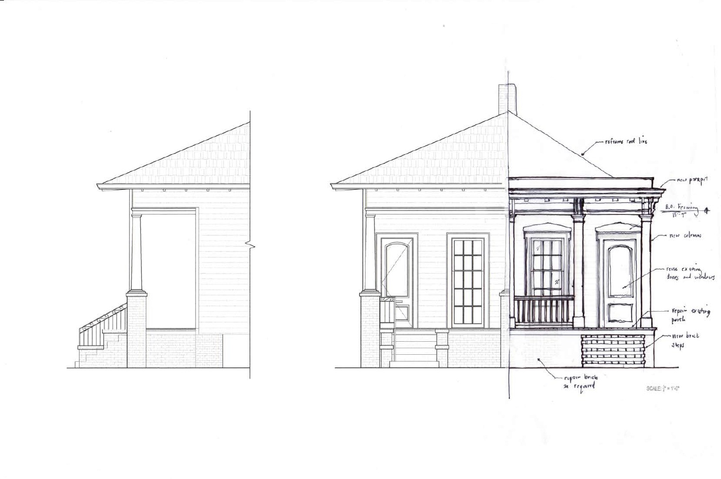 Proposed front elevation with parapet
