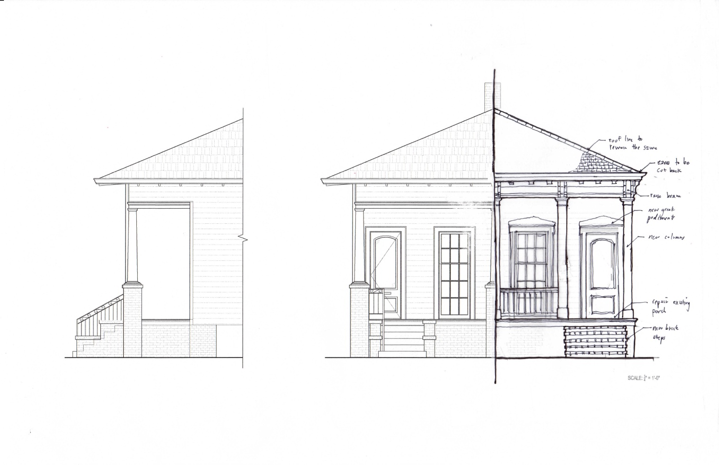 Proposed front elevation without parapet