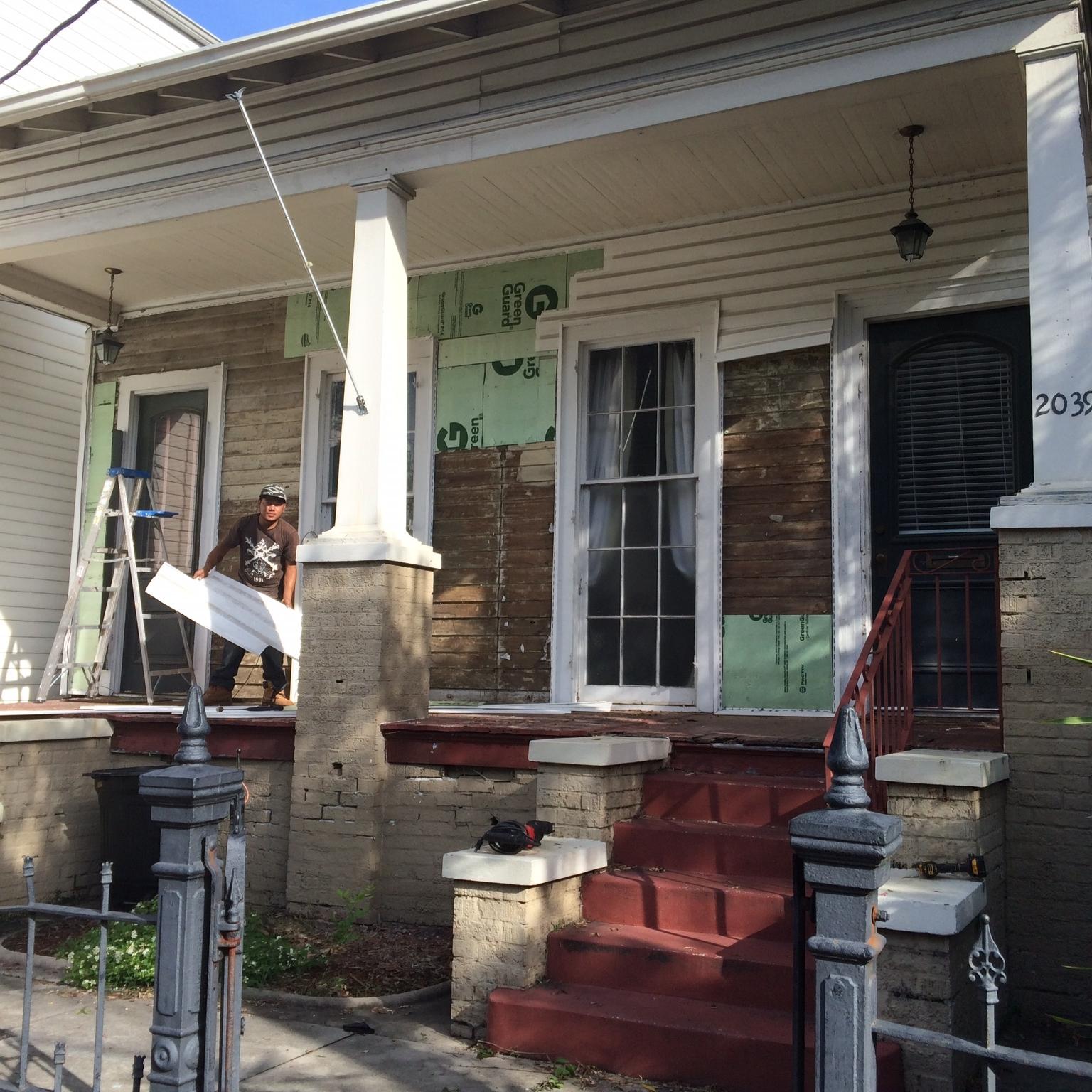 Exterior renovation begins