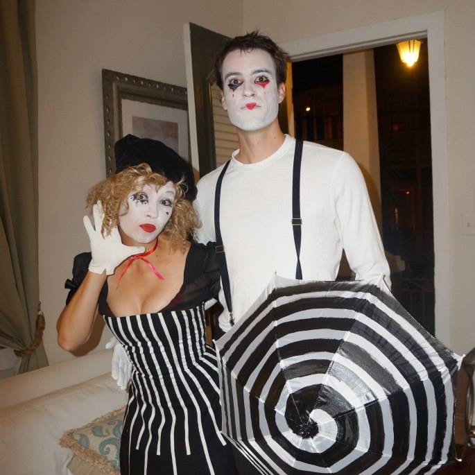Vintage cirucs black and white mimes