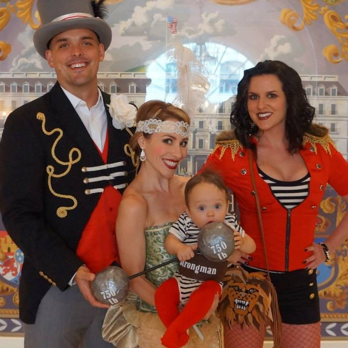 Vintage circus ringleader, tight rope walker, lion tamer and baby strongman