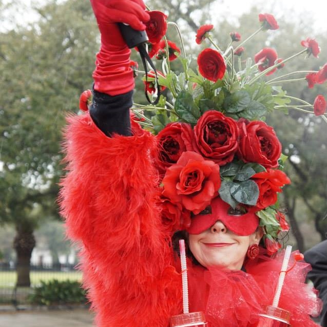 Red roses headpiece and mask