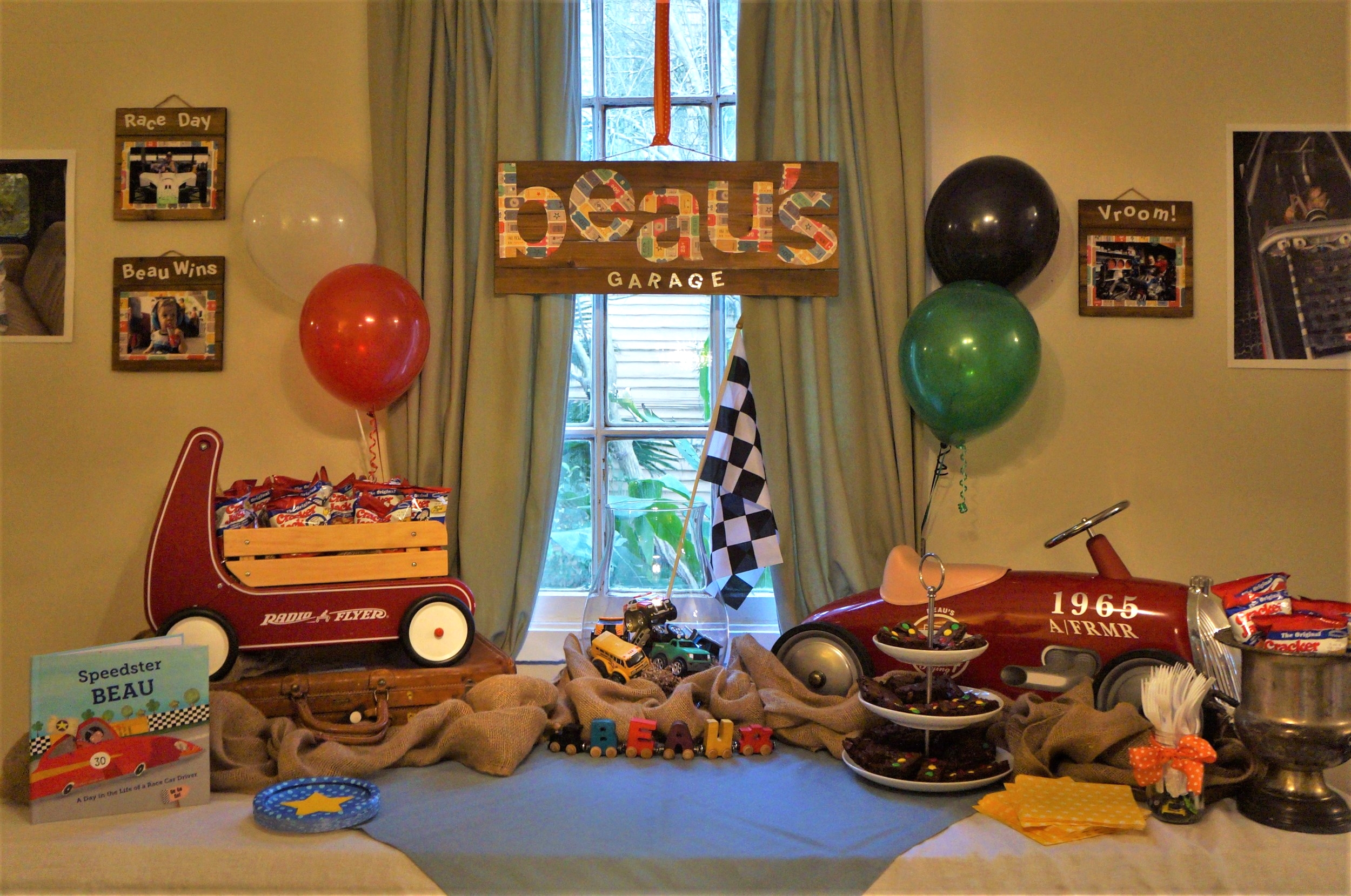 Vintage race car themed birthday party