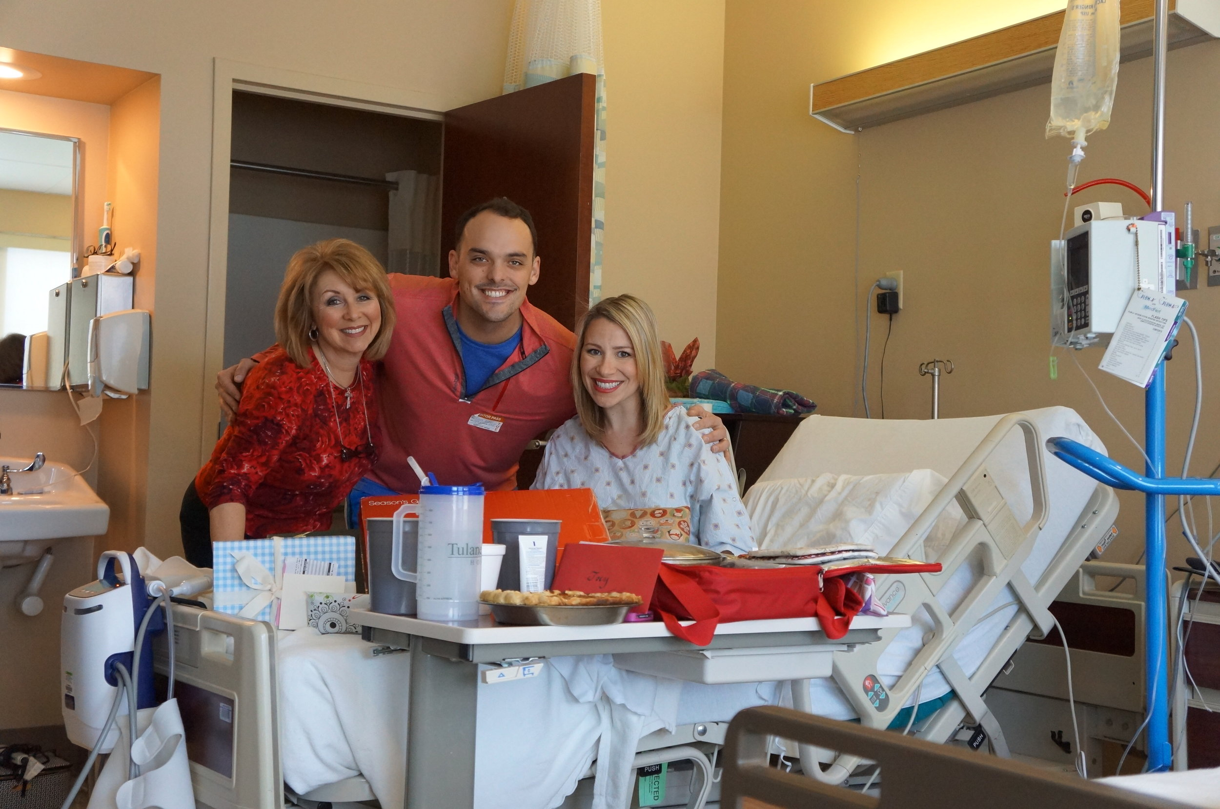 Christmas dinner with Joe and mom in the hospital