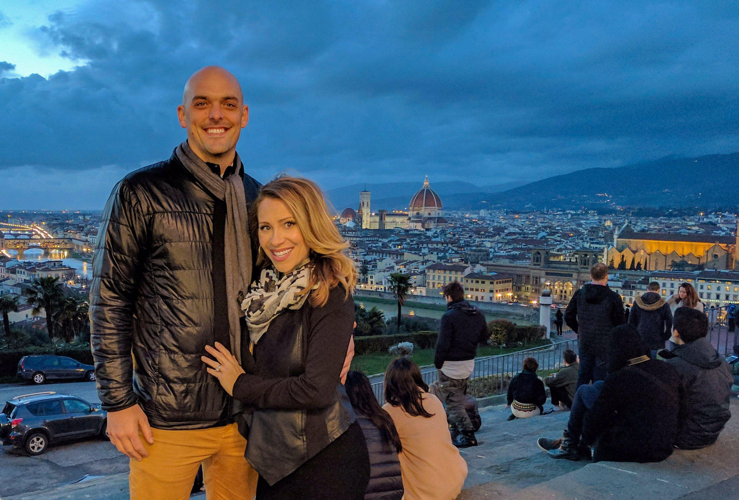 anne and joe at the Piazzale Michelangelo in Florence