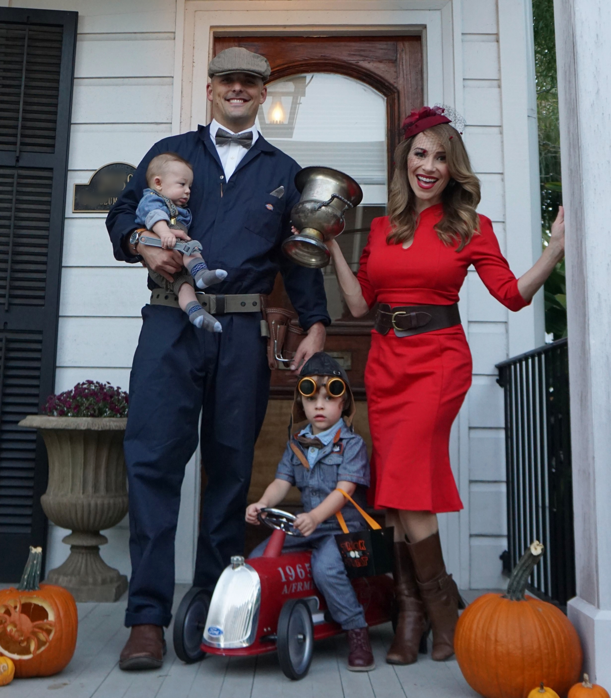 Vintage race car driver family costume.JPG