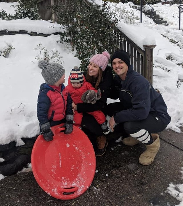 Anne Cutler and family in the snow