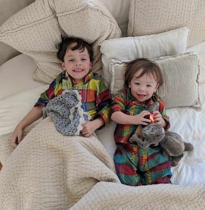 Beau and Brooks in their matching pajamas from Vietnam. We sure missed these boys!
