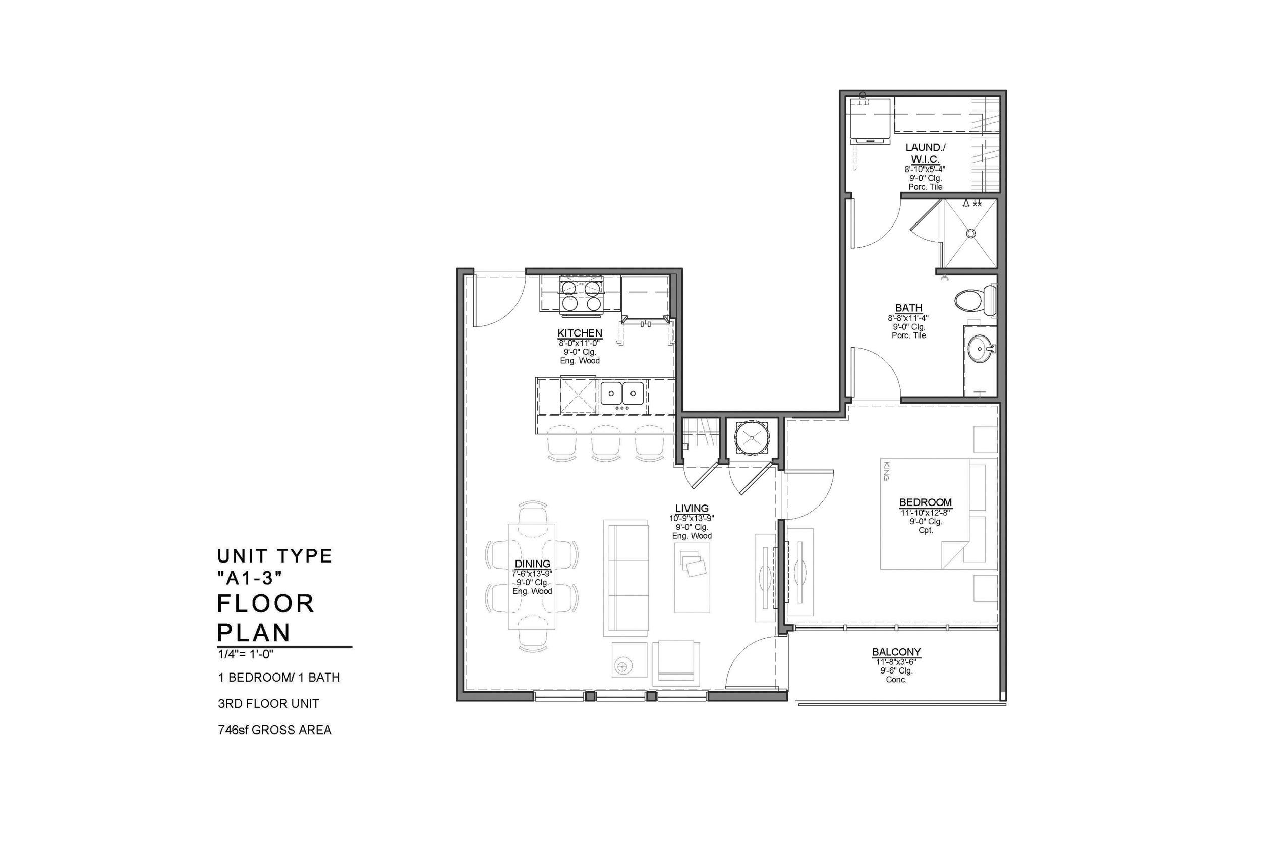 A1-3 FLOOR PLAN: 1 BEDROOM / 1 BATH