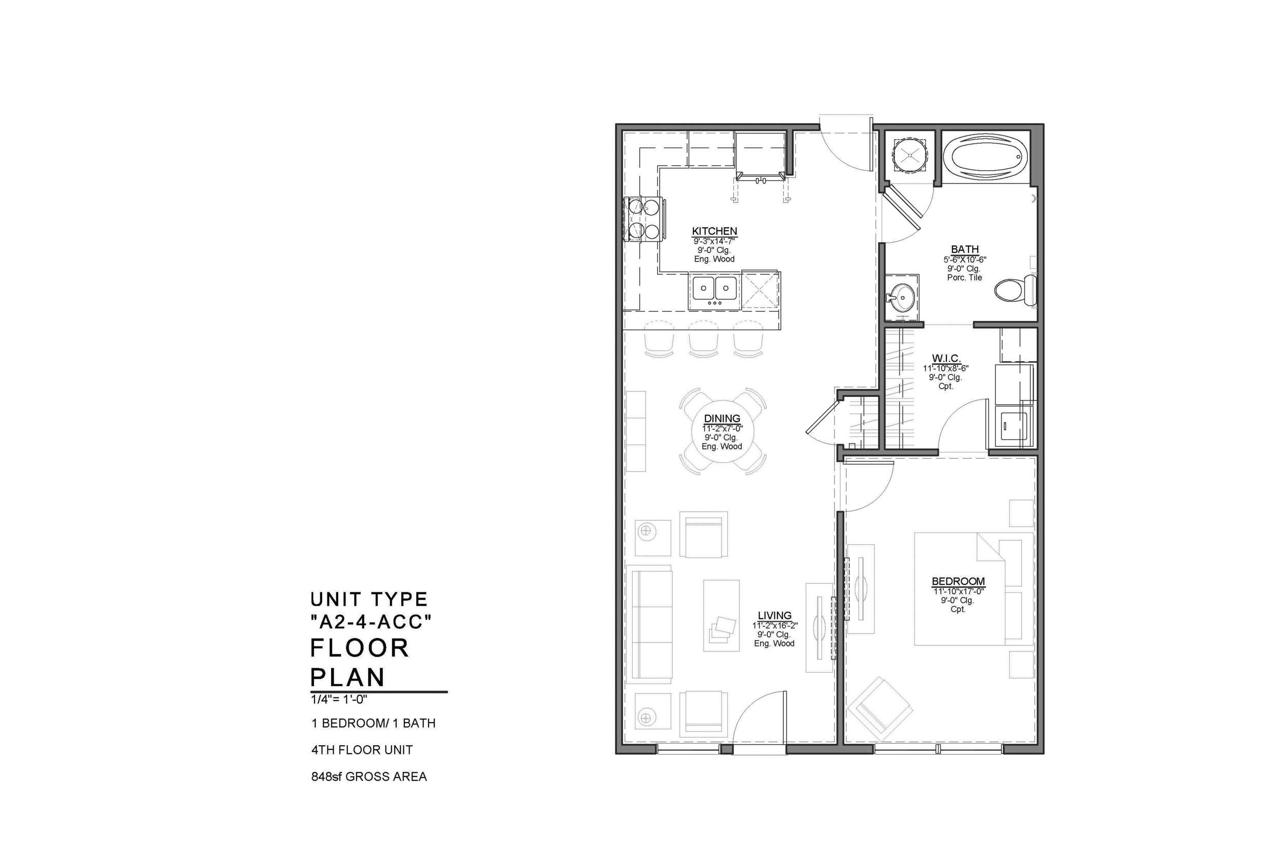 A2-4-ACC FLOOR PLAN: 1 BEDROOM / 1 BATH